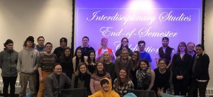 Interdisciplinary studies students posing for the Interdisciplinary studies end if semester celebration.