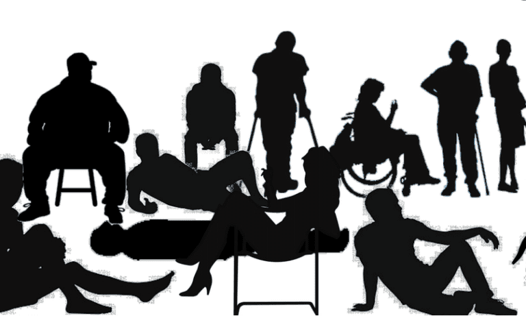 silhouette of different people reclining standing sitting including in wheelchair