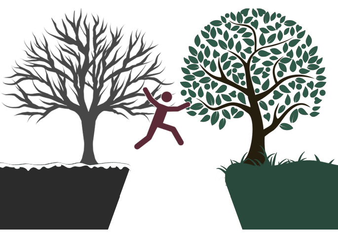 Cartoon man jumping from bare winter tree to blooming full of life tree