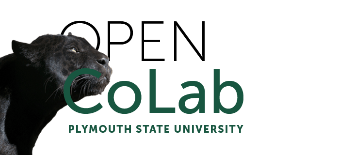 a version of the Open CoLab logo with a black panther, the school's mascot, incorporated