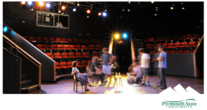 Empty theater with actors rehearsing.