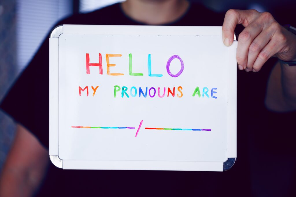 image of nametag saying hello my pronouns are